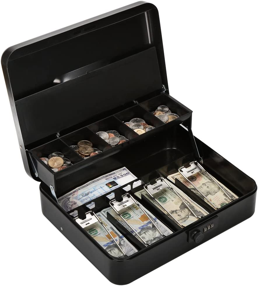 Caja metálica con cerradura de combinación, caja de dinero con cierre de bloqueo grande – 5 compartimentos con cubierta y 4 clips de resorte para billetes, 11 4/5
