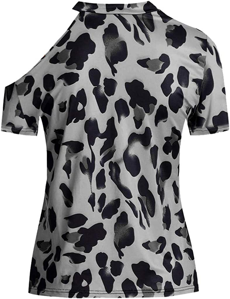 Cold Shoulder Shirts for Women Plus Size Short Sleeve Off Shoulder Leopard Print T-Shirts Tops