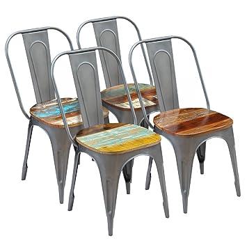 Salle 4 Style Chaises À Lot Manger Avec Industriel Festnight De dCxtsQrh