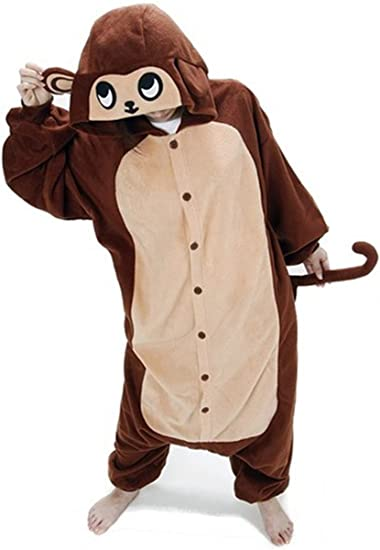 WOWcosplay Unisex All-In-One Pajamas Cosplay Costume Adult Sleepwear,Monkey M