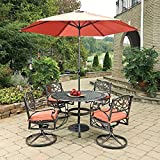 Home Styles 5555-3286C 7 Piece Biscayne Round 4 Arm Chairs with Cushions, Black/Rust Bronze For Sale