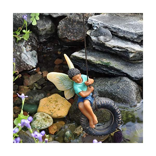 Woodland Knoll Miniature Fairy Garden Boy On Tire Swing Mg254
