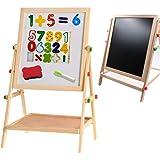 ホワイトボード 子ども身長より高さ調節できるHema Culture木製イーゼル 子供用磁気ボードにかける数字やマーカーペンや黒板消しなど勉強用具が揃って人気がある白板&黒板 両面ボード
