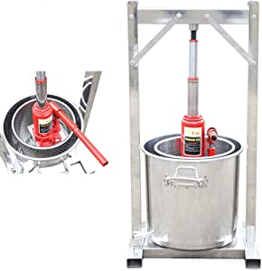Fruit Wine Press 3.2 Gallon Hydropress Fruit Press Cider Grape Wine Press Crusher Grinder Apple Cider Juice Wine Maker Making Tool with Hydraulic Jack, Food Grade Stainless Steel