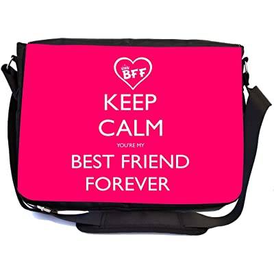Rikki Knight Keep Calm and Best Friend Forever Design Multifunctional Messenger Bag - School Bag - Laptop Bag - with padded insert for School or Work - Includes Matching Compact Mirror