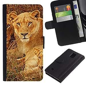 KLONGSHOP / Tirón de la caja Cartera de cuero con ranuras para tarjetas - Cubs Lion African Savannah Nature Animal - Samsung Galaxy Note 4 SM-N910