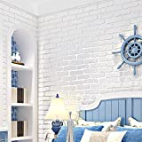 Tools & Hardware : N.SunForest White 3D Elasticity Self-Adhesive Peel and Stick Brick Grain Non-Woven Fabric Wallpaper Home Living Room Bedroom Baby Nursery Wall Decor Art Murals