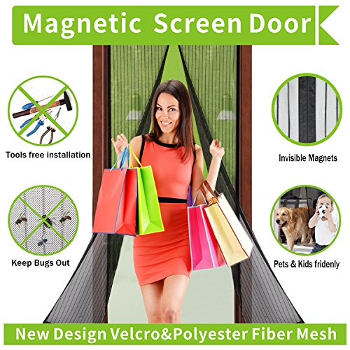 Magnetic Screen Door,Full Frame Velcro and Dacron Heavy Duty - Import It All