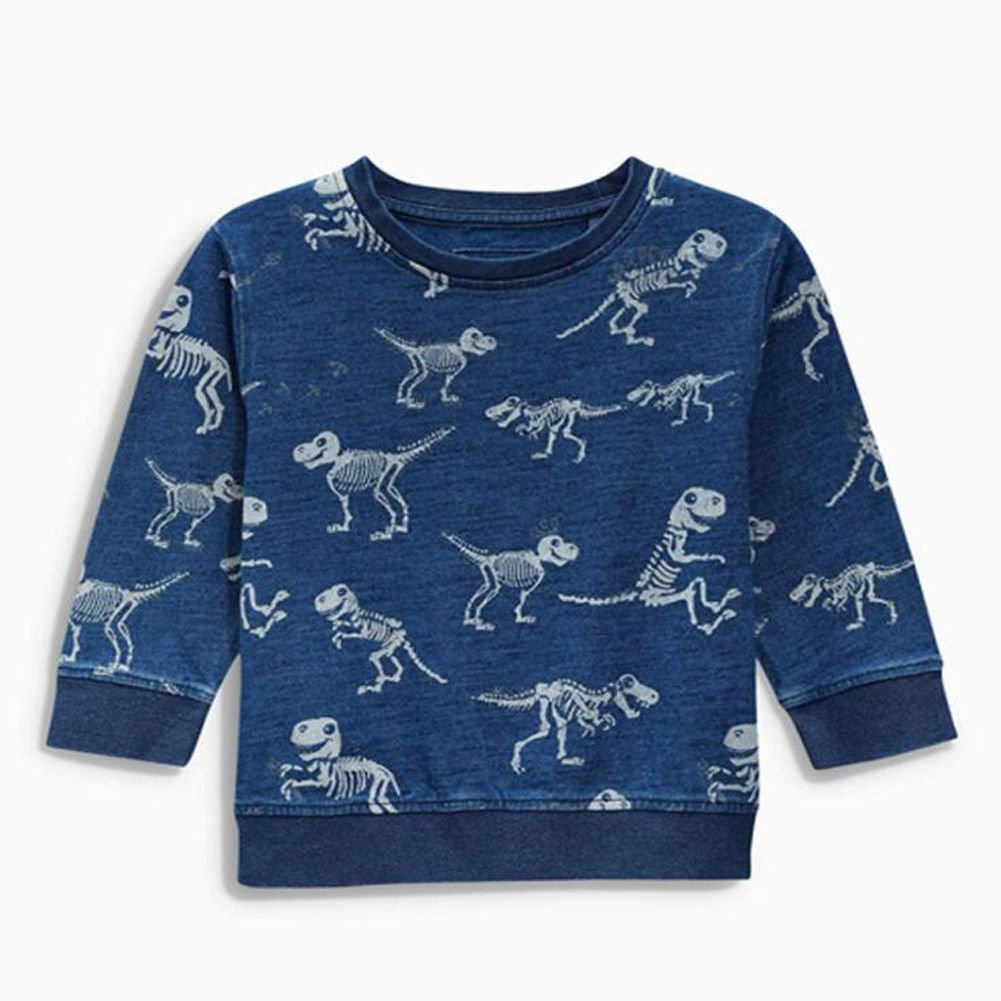 Zooarts for 2-7 Years Kids Boys Jumper Tops Dinosaurs Print Long Sleeve Knitted Cotton Sweater Shirt Romper Outfit Winter Clothes (2T)