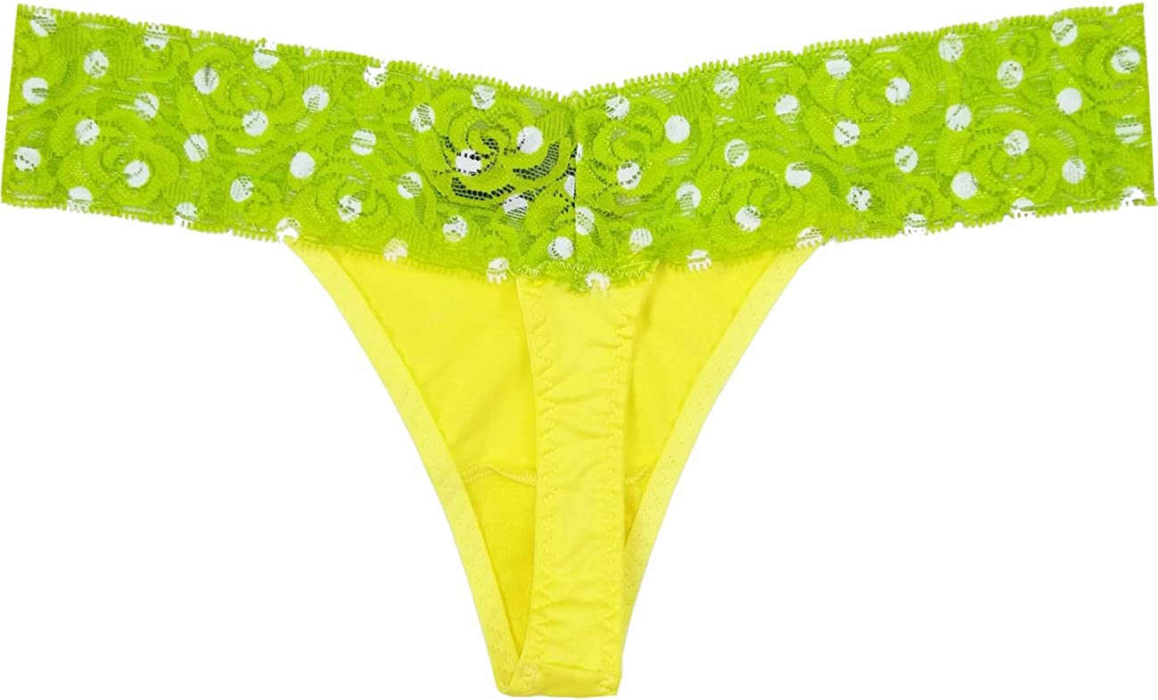 Small Rene Rofe Womens Bright Yellow Thong Panty with Neon Green Lace Waistband