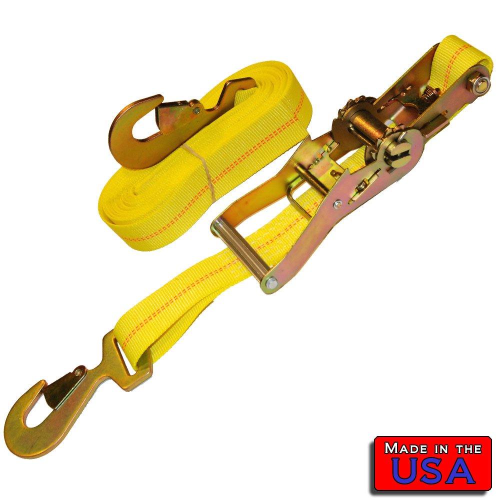 SecureMyCargo 2'' Ratchet Strap Snap-hook/Snap-hook 20' 3336# WLL Yellow