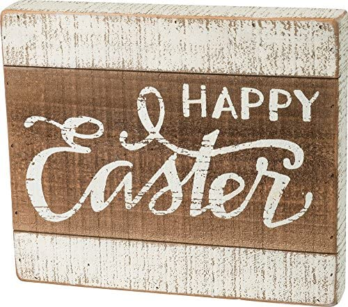 Primitives by Kathy Easter Bunny Happy Sign Slat Wood Glitter 16.5 Inch