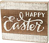 Primitives By Kathy Happy Easter 11.75 Inches x 10 Inches Wood Slat Box Sign Home and Garden Decor