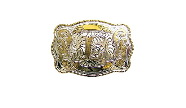 "Initial Letter /""L/"" Cowboy Rodeo Western Metal Belt Buckle"