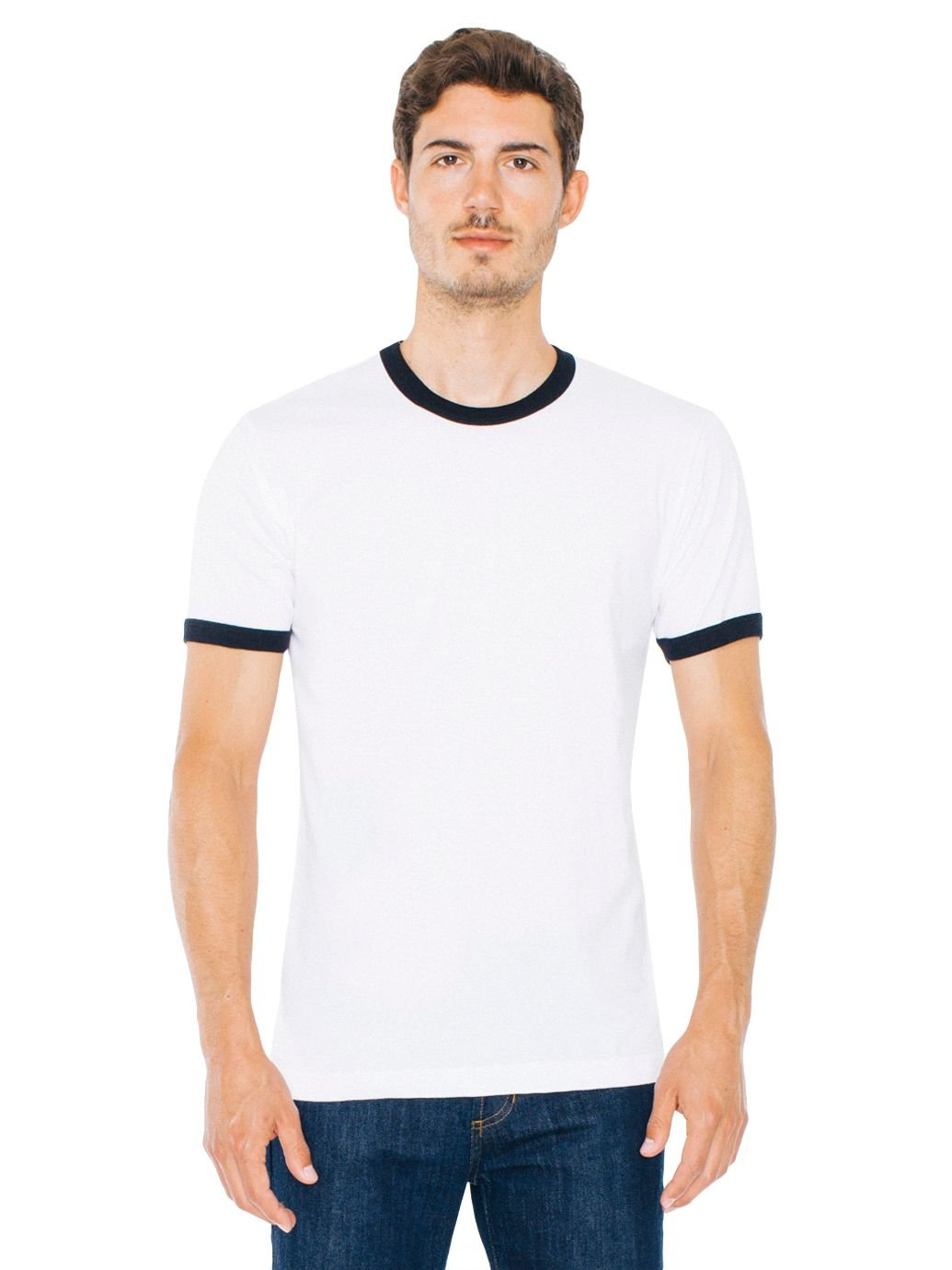 American Apparel Men Fine Jersey Short Sleeve Ringer T-Shirt Size 2XL White /