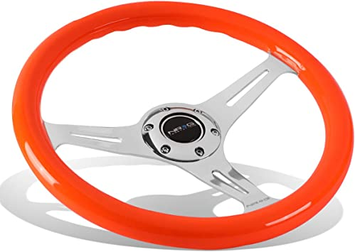 NRG WOOD STEERING WHEEL 350MM CHROME 3 SPOKE CENTER /& NEON ORANGE