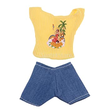 af66140bb7e Amazon.com  SM SunniMix Cute Yellow Short Sleeve   Jeans Summer Clothes for  29-30cm Doll Dress Up Decor  Toys   Games
