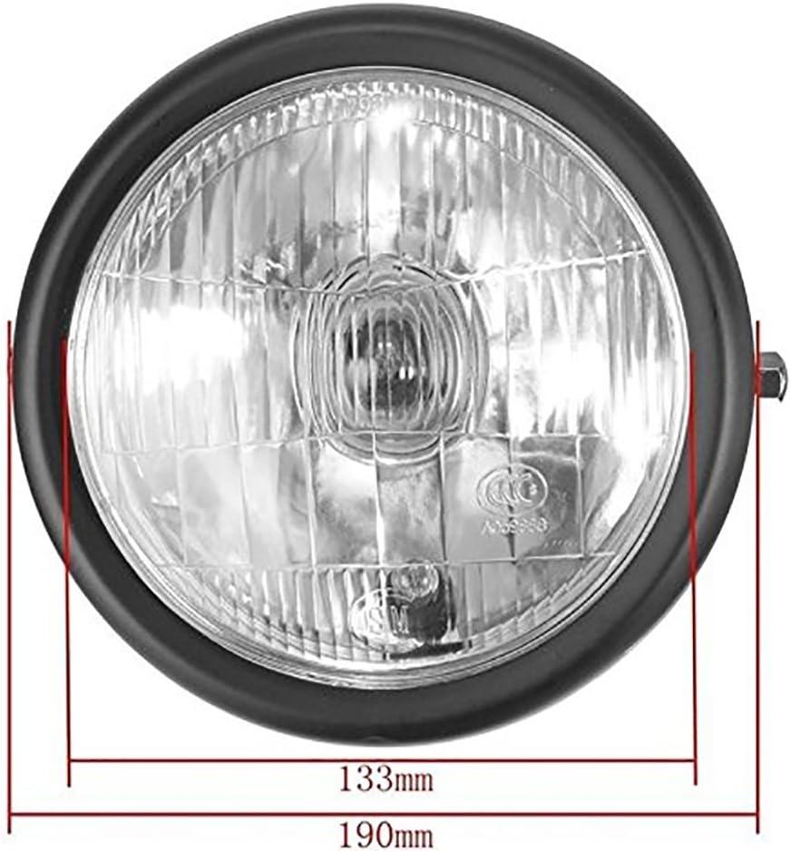1er Pack TUINCYN Bernstein Motorrad-Scheinwerferlampe Vintage rund Metall montiert Motorrad Kopf Lampe Driving Running Beam Kontrollleuchte DC 12 V 35 W 12,7 cm