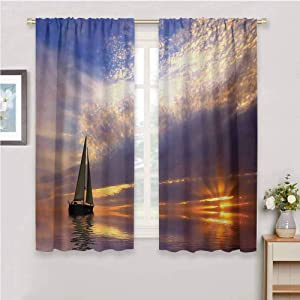 DIMICA Shading Insulated Curtain Sailboat Sailing with Sunset Sunbeams on The Horizon Romance Honeymoon Destination for Window Curtains Valances W63 x L45 Inch Marigold Bluegrey