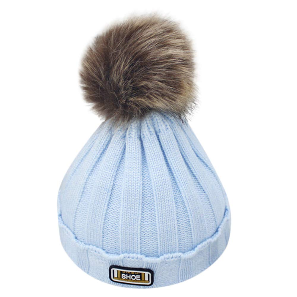 Kids Fur Pom Pom Hat Toddler Baby Warm Winter Wool Knit Beanie Faux Fur Hat  Cap 21892df5163