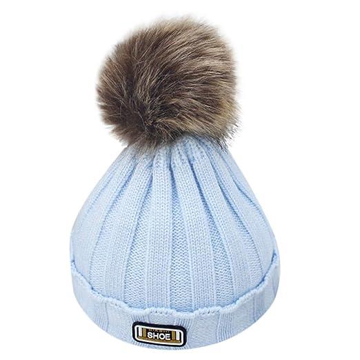 Kids Winter Warm Knitted Faux Fur Pom Pom Cap Toddler Boys Girls Kids  Crochet Beanie Hat 8ed0e12b679