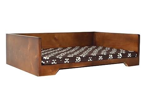 Cama de Madera para perros y gatos YA MONTADA¡¡ (pequeño, huellas): Amazon.es: Productos para mascotas