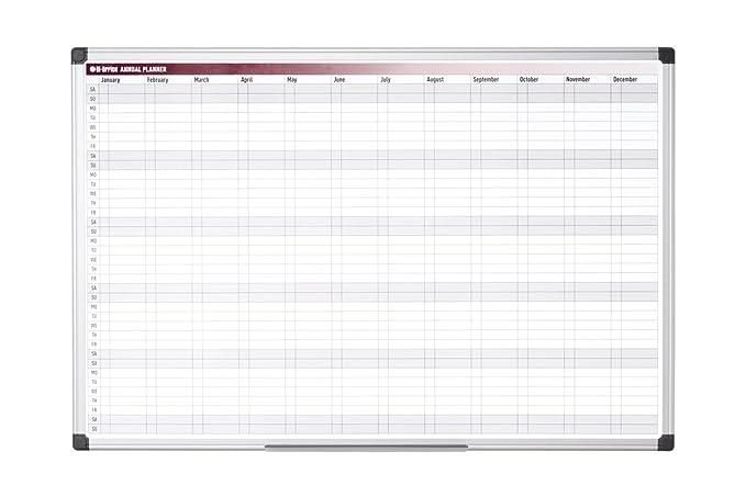 1 opinioni per Bi-Office annuale magnetica con cornice in alluminio, motivo: programma
