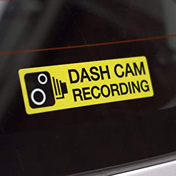 Dash Cam Recording Internal Car Window 110mm x 30mm Warning Stickers Pack of 2 Decals