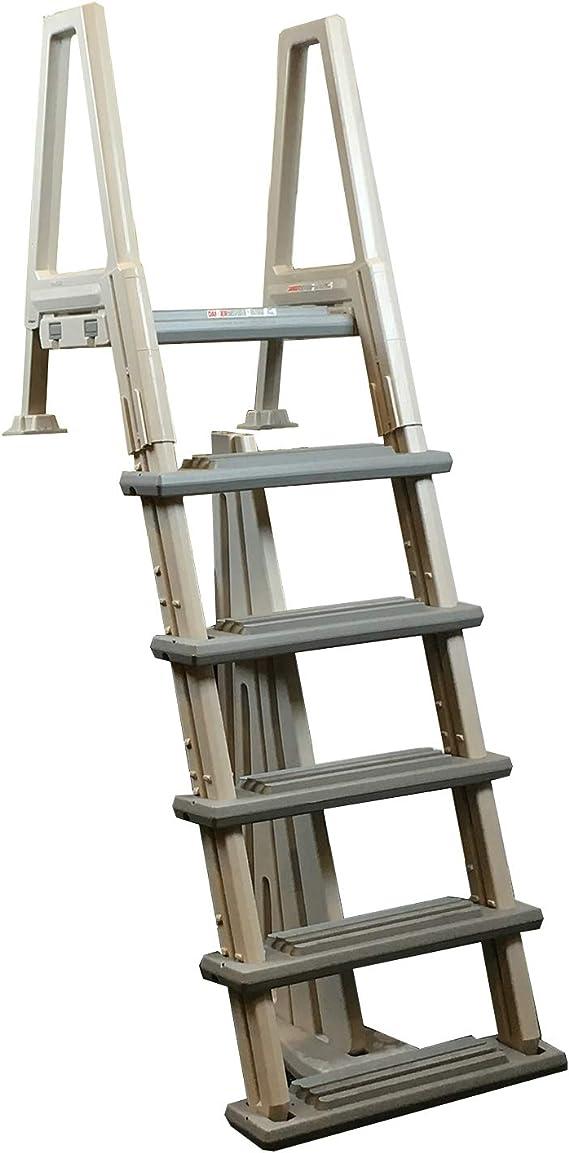 Confer 6000B Escalera para piscina, resistente, elevada sobre el nivel del suelo, 121,92 - 142,24 cm, incluye alfombrilla: Amazon.es: Jardín
