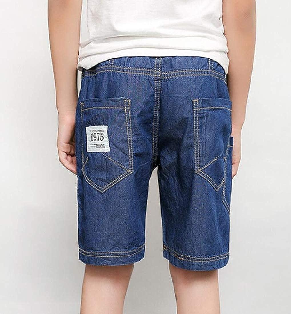 Hajotrawa Boys Fit Cute Elastic Waist Jean Denim Cotton Shorts