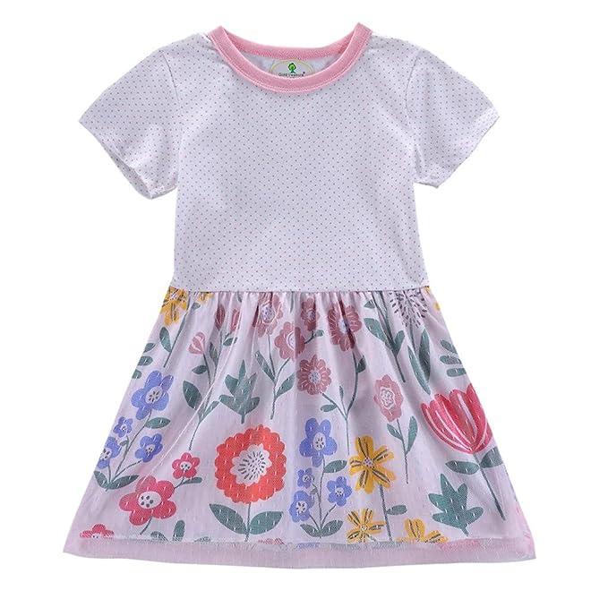 Bestow Vestido de Manga Corta con Estampado de Flores en Lunares con Lunares para niños Ropa