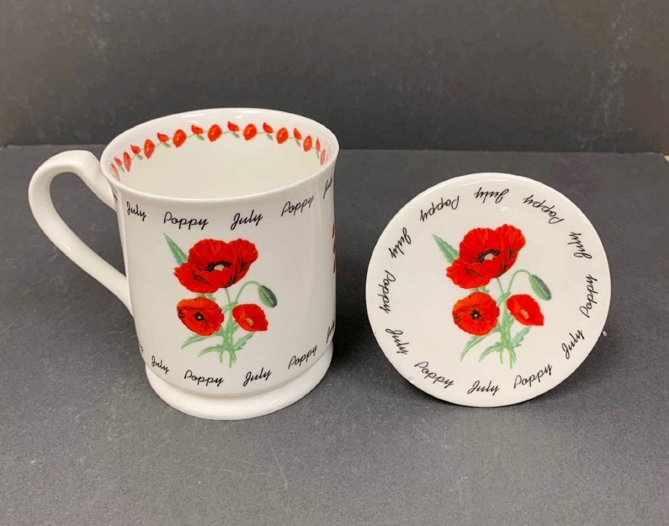 April 12oz Hampstead Collection Monthly Flower Fine Bone China Mug with Lid