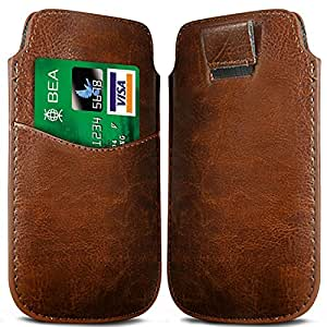 Online-Gadgets UK - Nokia Lumia 530 El caso del tirón de Premium Card Slot PU Tire Caso Tab - Marrón