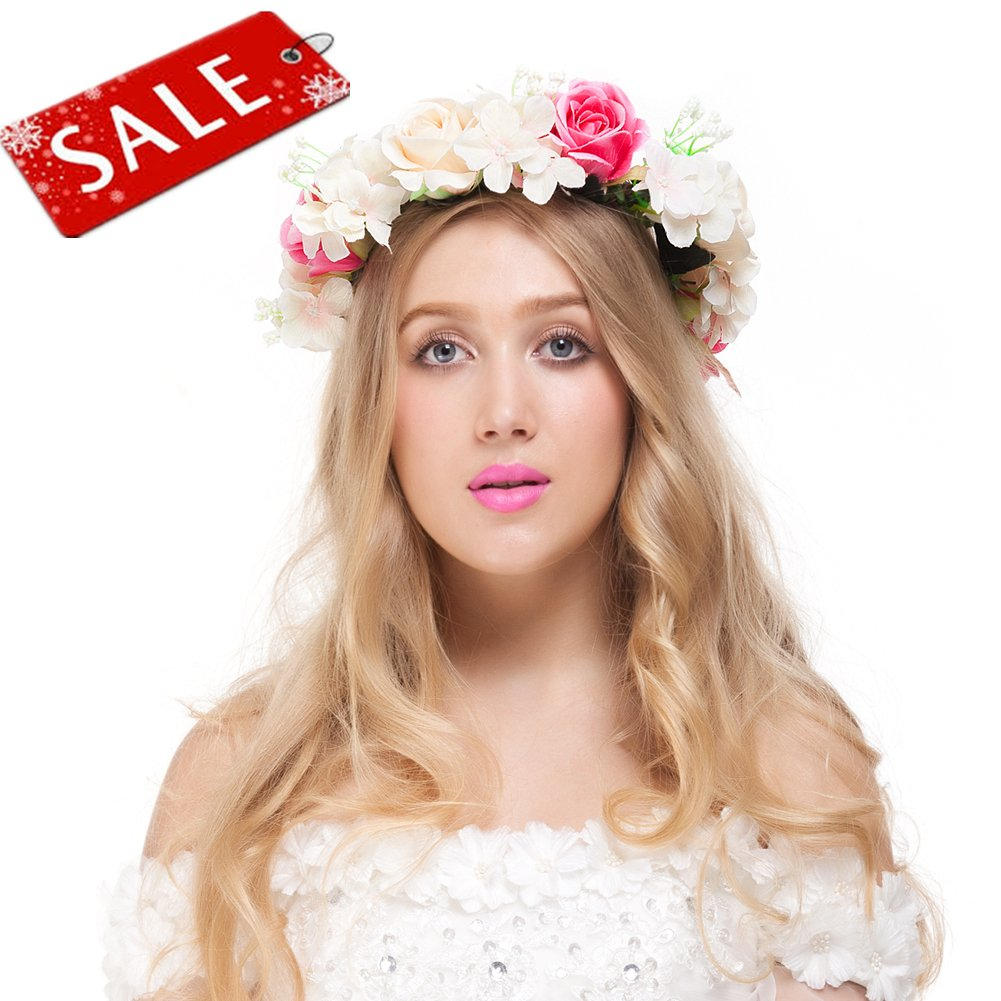 Amazon valdler exquisite camellia berries flower crown with valdler champagne rose flower crown for festival wedding party 1 pcs izmirmasajfo Gallery