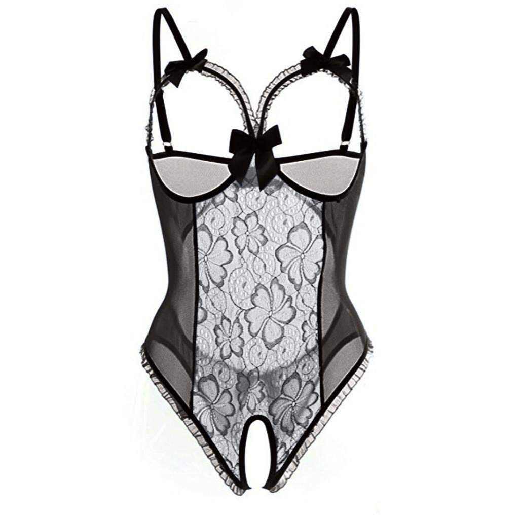 Zaidern Fashion Women Sexy Lingerie Sex Attraction Lace Perspective with Silver Chemise Underwear