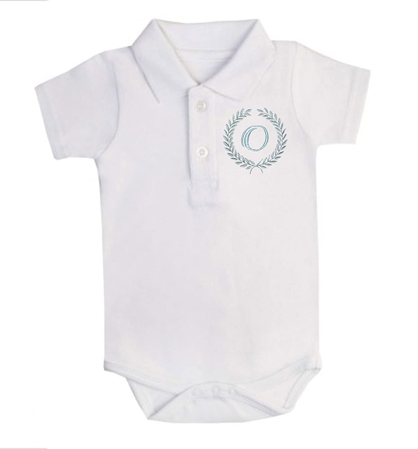 Sew Sew Special Boy/'s Laurel Monogram Short Sleeve Bodysuit Personalised with The Name of Your Choice First Name Only .