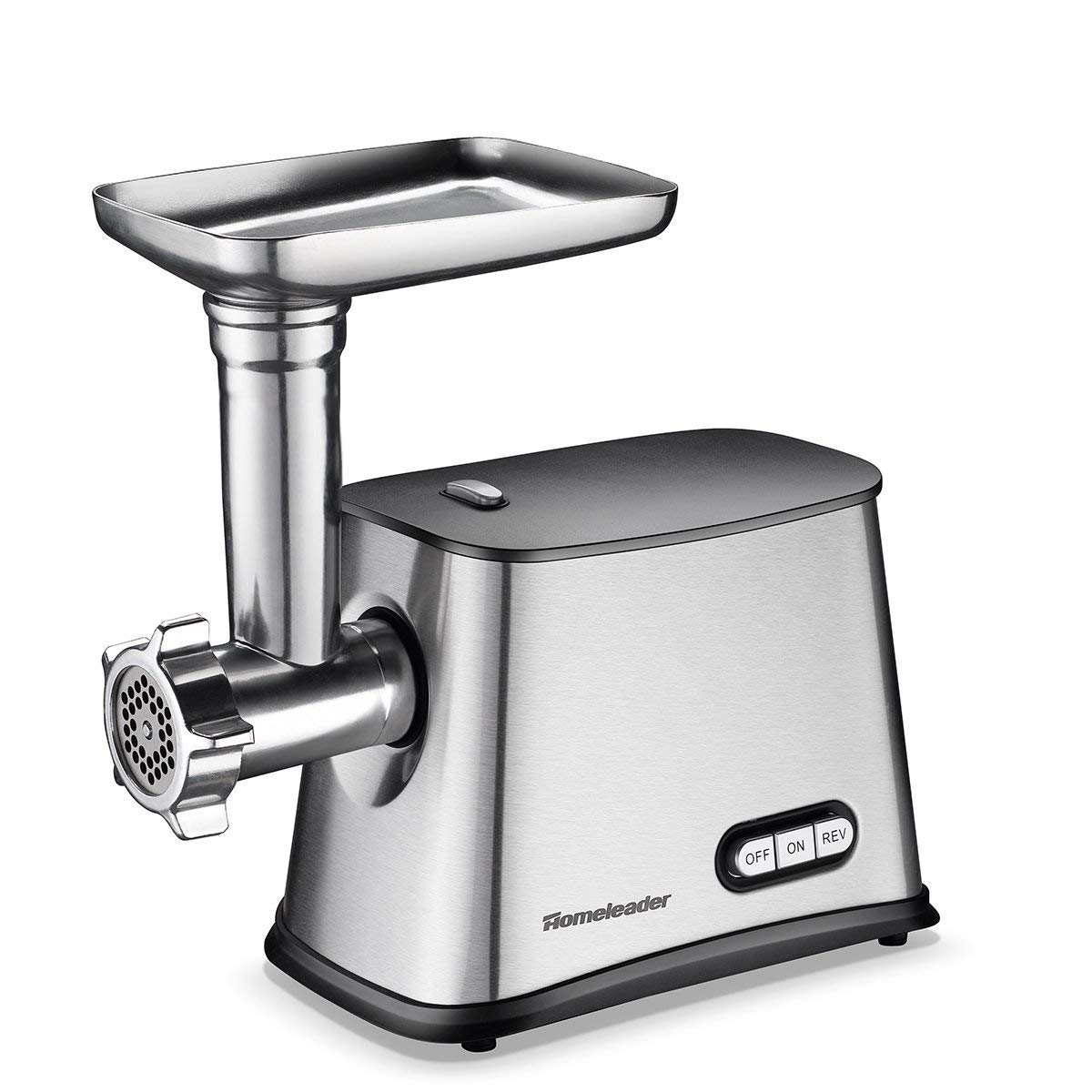 Homeleader Electric Meat Grinder & Sausage Stuffer with 3 Stainless Steel Grinding Plates, Heavy Duty Meat Mincer with Kubbe Attachment, Stainless Steel, Sliver