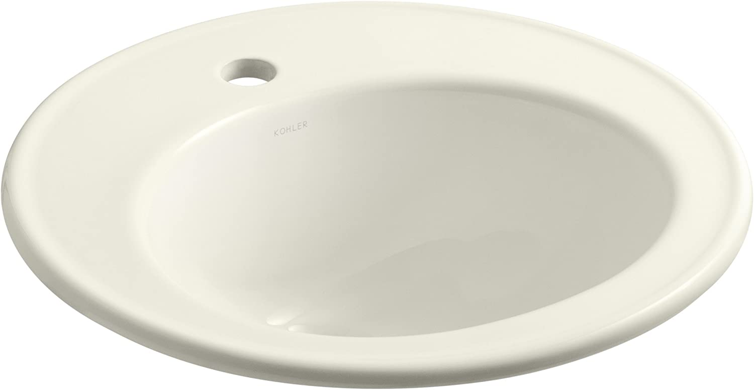 Kohler 2202-1-96 vitreous China Drop-In Round Bathroom Sink, 21 x 21 x 10 inches, Biscuit