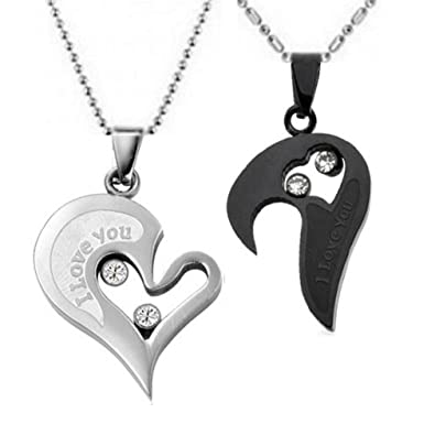 e25399d568 Couple Stainless Steel Necklace Sets I Love You Heart Shape Pendant (Black &  Silver)