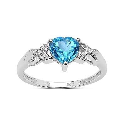 9ct White Gold 1 00Ct Heart Blue Topaz Heart & Diamond Engagement