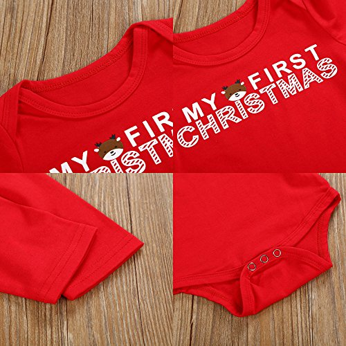 Christmas 4Pcs Outfit Set Baby Girls Boys My First Christmas Rompers(0-3 Months) by Von kilizo (Image #4)
