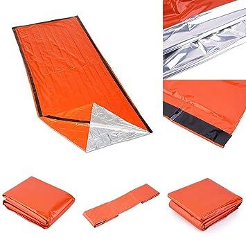 wfz17 al aire libre emergencia térmica saco de dormir, reflectante aislamiento térmico brillante naranja exterior