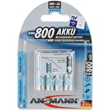 ANSMANN AAA Rechargeable Batteries Low Self Discharge NiMH 800mAh Pre-Charged (pack of 4)