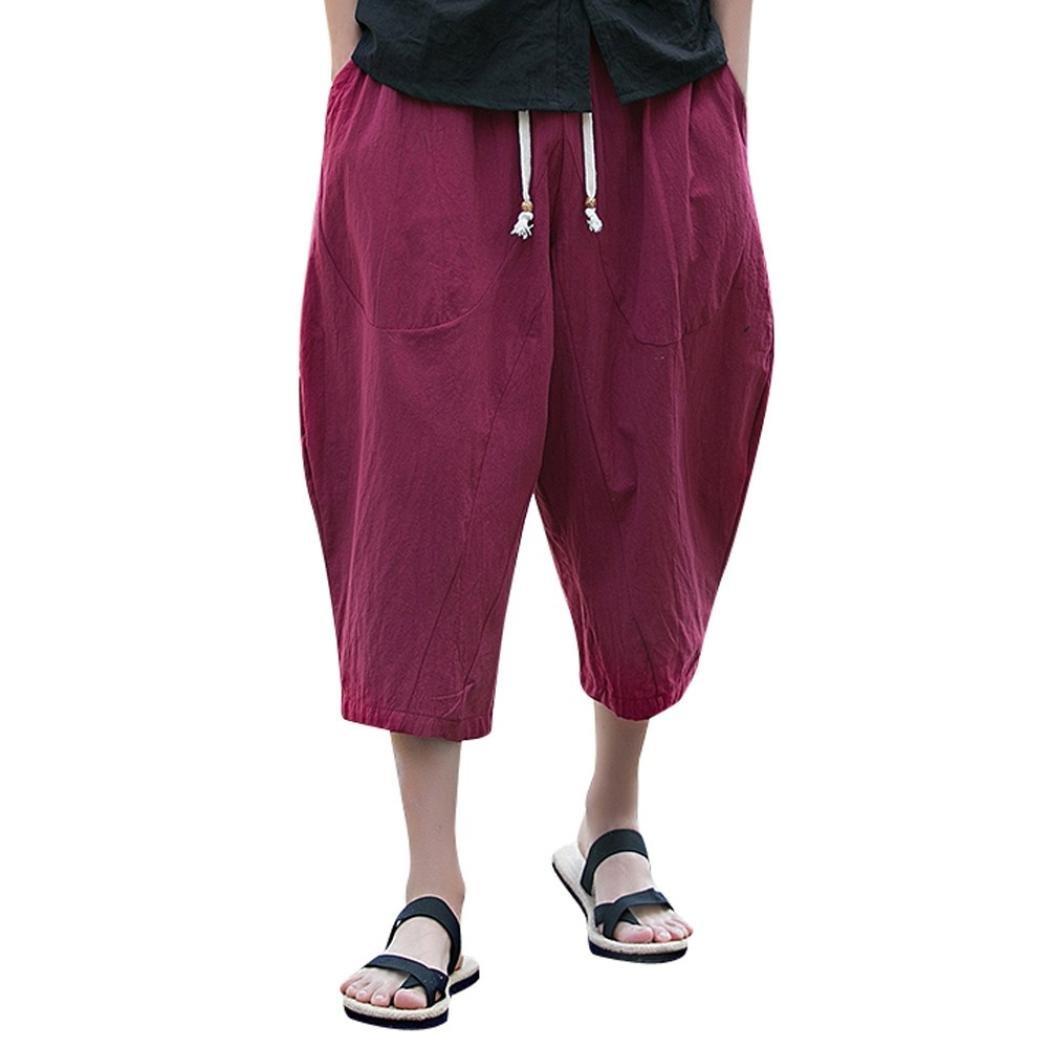 PASATO Men's Casual Slim Sports Pants Calf-Length Linen Trousers Baggy Harem Pants Trousers(Wine Red,M)