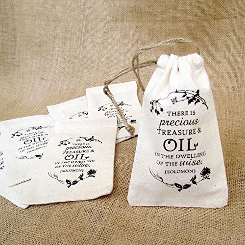 Solomon Quote 3 x 6 Natural Cotton Drawstring Bag for Essential Oil Gifts; Set of 6 Bags – by Rivertree Life