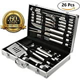 Image of BBQ Grill Tools Set with 26 Barbecue Accessories - Stainless Steel Utensils with Aluminium Case - Complete Outdoor Grilling Kit