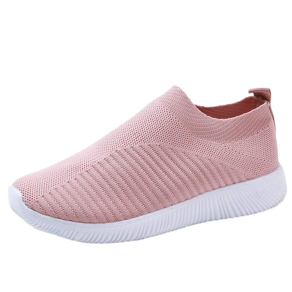LIM&Shop ❤ Women Mesh Slip-On Casual Walking Breathable Work Out Sneakers Men Walking Shoes Spors Shoes Lightweight Pink