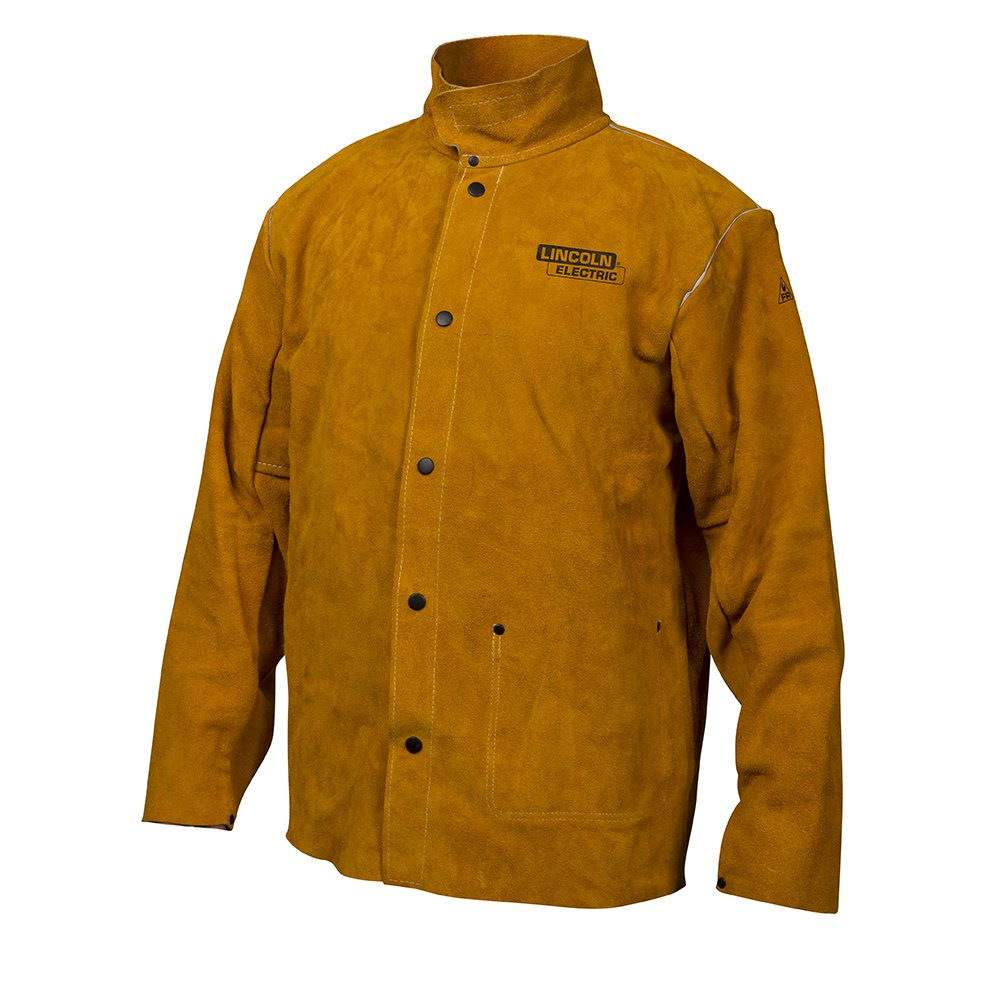 Lincoln Electric Brown X-Large Flame-Resistant Heavy Duty Leather Welding Jacket by Lincoln Electric