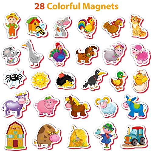 Fridge Magnets For Toddlers Farm Animals 28 Pcs Import It All