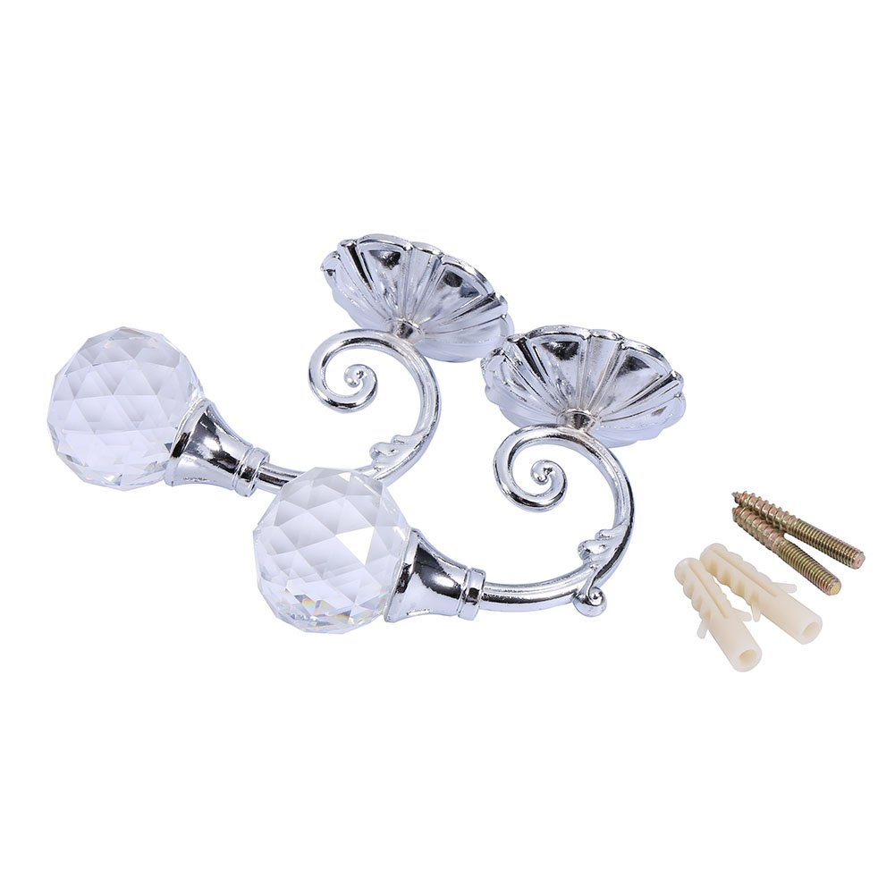 2 Pair of Phoenix Glass Crystal Curtain Holdback Hooks Wall Window Drapery Tie Back Hooks Metal Hanger Holder (Silver)